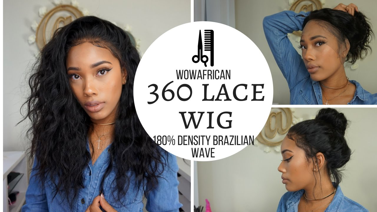 360 Lace Frontal Wig 180 Density Natural Wave Brazilian Virgin Hair