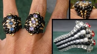 "Beading4perfectionists : ""The Biker-Chick"" ring Swarovski montee / miyuki ring beading tutorial"