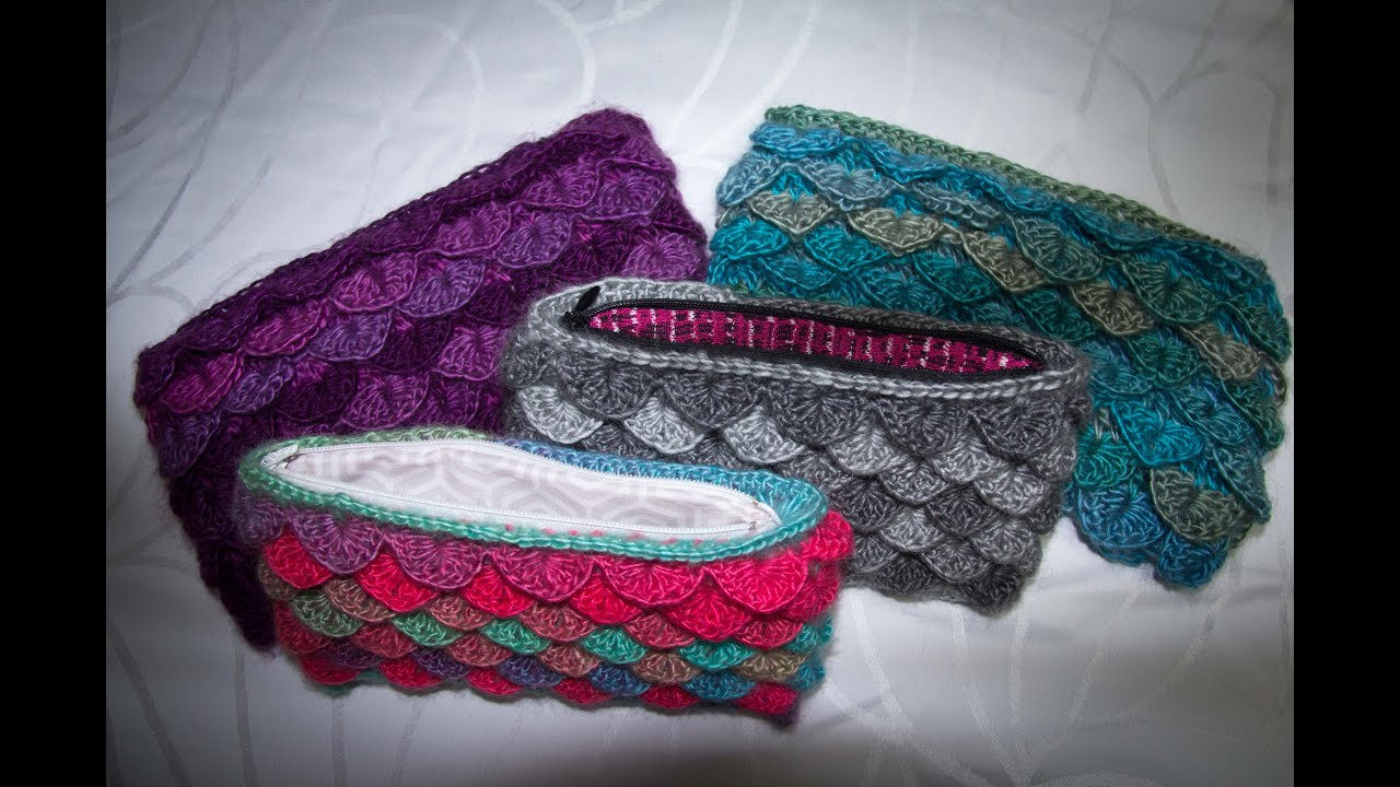 Crochet Lined Crocodile Stitch Clutch Tutorial Youtube