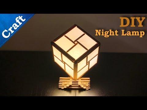 Homemade Night Lamp Cube from Ice Cream Sticks