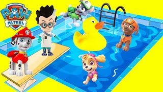 Paw Patrol Waterslide Toy Compilation with Rubber Ducky Kiki, PJ Masks