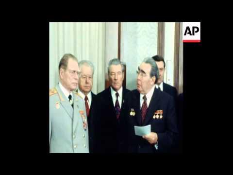 SYND 3 11 78 PRESIDENT BREZHNEV AWARDS DEFENCE MINISTER USTINOV ORDER OF LENIN