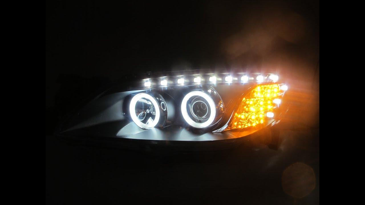 Crazythegod Mazda3 Mazda 3 4dr 2003 2009 Ccfl Angel Eye Projector R8 Headlight W Led Amber Black