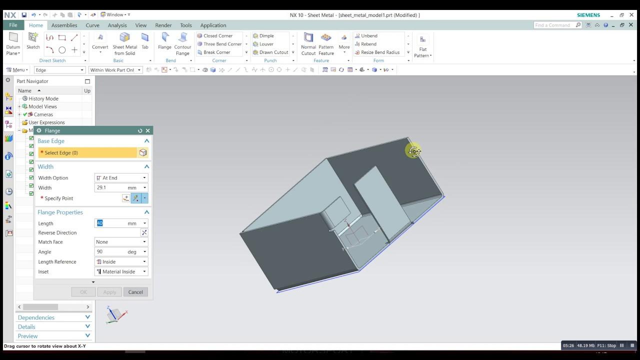 Sheet Metal Bending With Flange In Nx Siemens 10 Plm