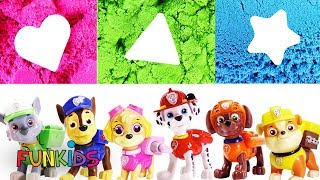 Paw Patrol Make Shapes with Colorful Kinetic Sand