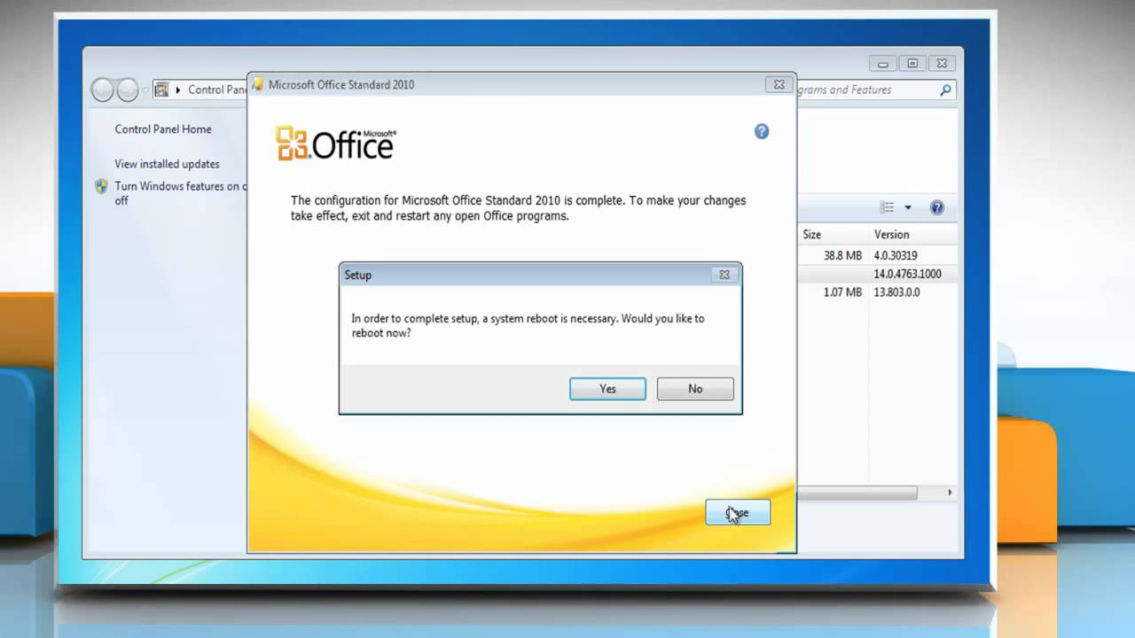 Microsoft office 2010 repair installation problems on for Windows 7 bureau vide