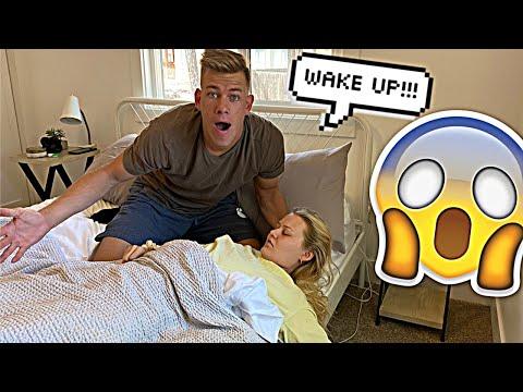 NOT WAKING UP PRANK ON HUSBAND! *Cute Reaction*