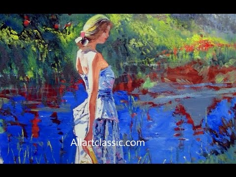 Girl by the River Original Canvas Art Painting