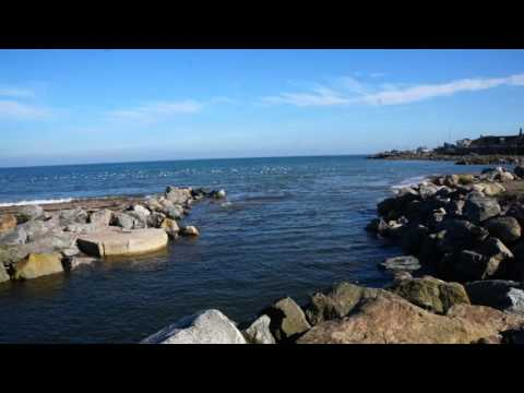 Carron River mouth and rock armour restricted channel at Stonehaven