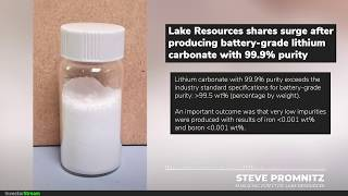 Jan 9, 2020: Investor Stream chats with: Lake Resources Managing Director Steve Promnitz
