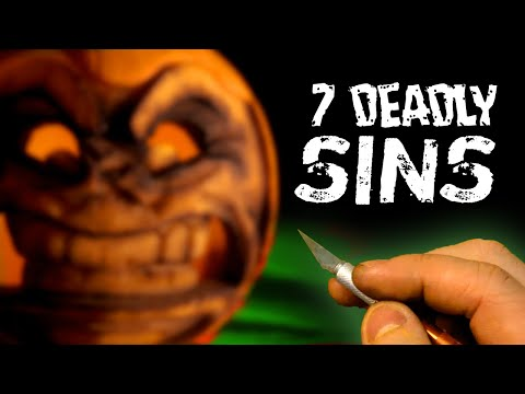 CARVING the 7 DEADLY SINS on Pumpkins!  *spooky*