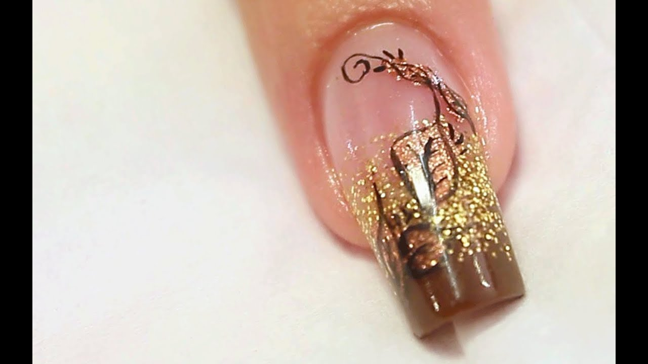Autumn copper foil nail art design tutorial youtube prinsesfo Choice Image