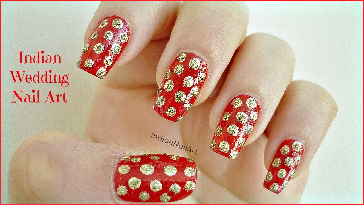 red and gold indian wedding polka