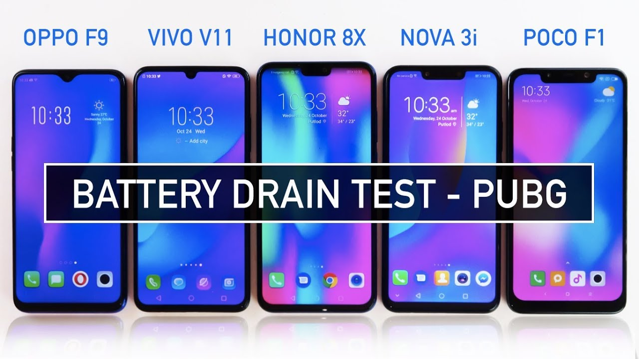 Oppo F9 / Vivo V11 / Honor 8X / Nova 3i / Poco F1 Battery DRAIN Test PUBG |  Zeibiz