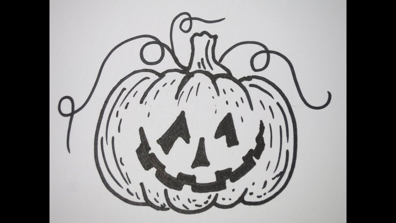 how to draw halloween pumpkin youtube