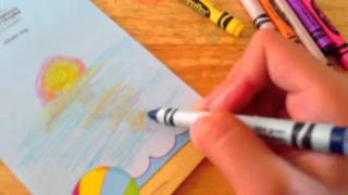 How to make a summer drawing using crayons