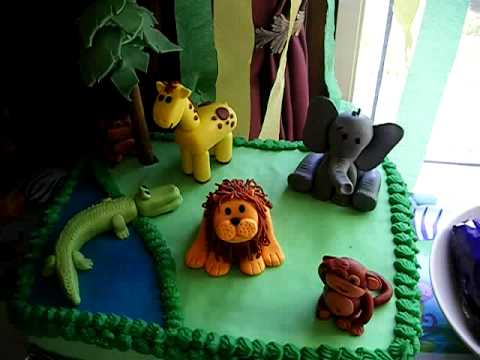 First Fondant Jungle Animal Birthday Cake