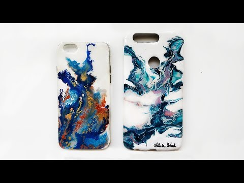 DIY Marble Phone Case With Paint - Fluid Acrylic Painting Phone Case