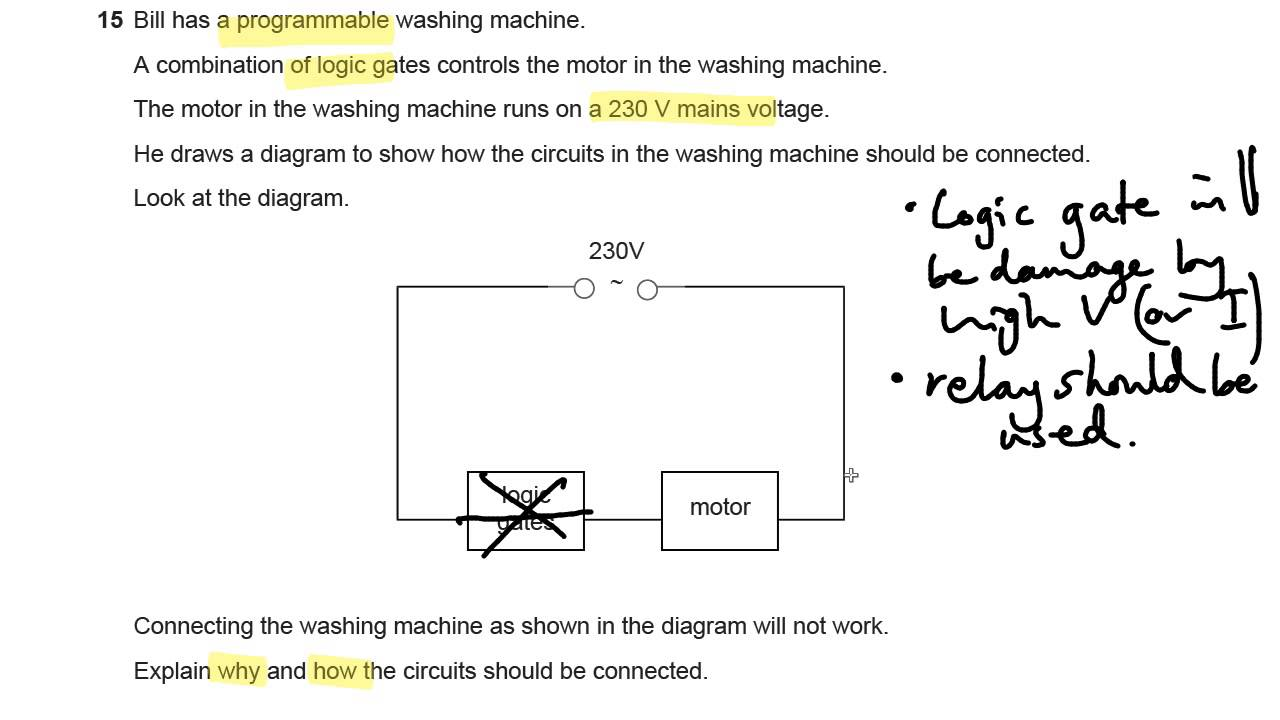 Logic Gates And Relay Circuits Ocr Gateway P6 Q15 Gcse Physics Working Of Circuit Revision