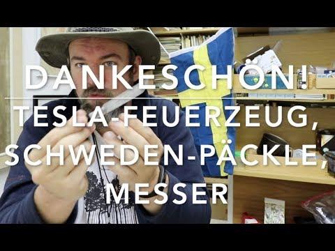 Dankeschön: Feuerzeug, Schweden-Päckle, Messer und Messer.