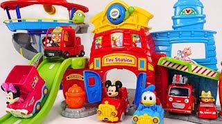 Mickey Silly Slides Fire Station~ Let's go Disney, Pororo, Tayo fire trucks! #PinkyPopTOY