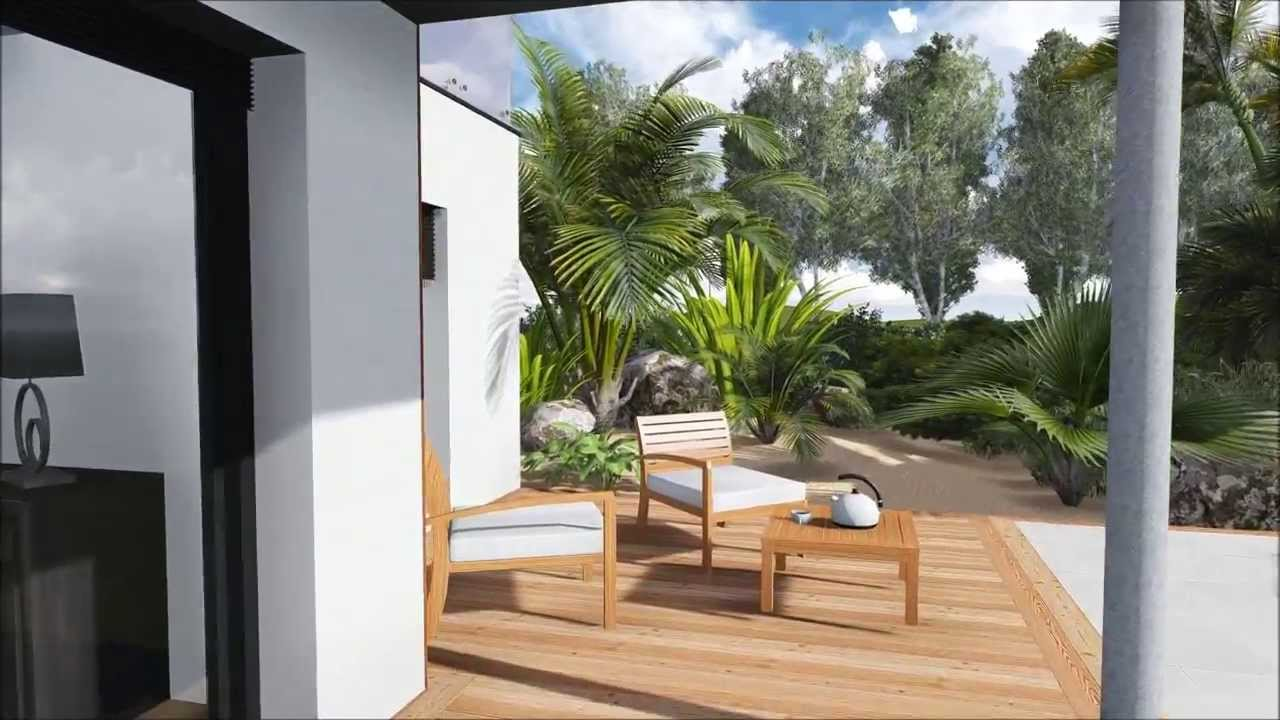 plan de jardin 3d plan de terrasse et piscine de luxe youtube. Black Bedroom Furniture Sets. Home Design Ideas