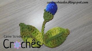 Folha e Botão de flor em crochê para aplicação por Carine Strieder