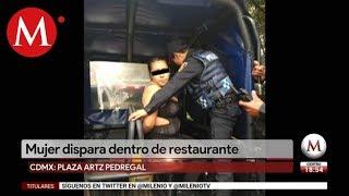 Una mujer fue detenida tras balacera en plaza Artz Pedregal