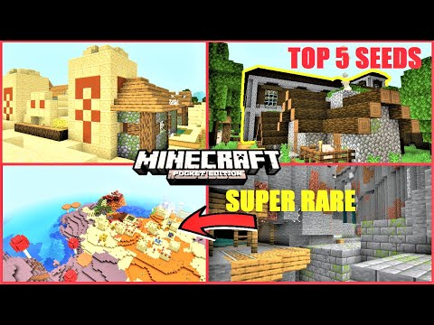 Top 5 BEST Minecraft PE Seeds #9 - Stronghold At Spawn, Mesa Village IN Mushroom Biome ! MCPE 1.14