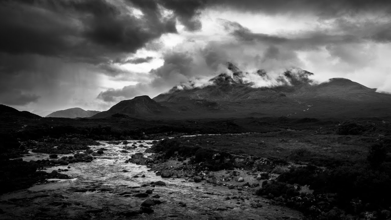 Black and white landscape photography editing in lightroom dark mountains of skye youtube