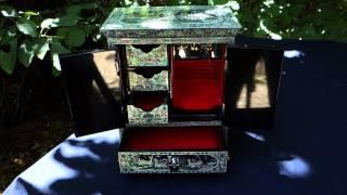 Boite à bijoux de luxe, petite armoire en nacre naturelle