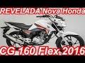 REVELADA Nova Honda CG 160 Flex One 2016 aro 18 15,1 cv 1,54 mkgf