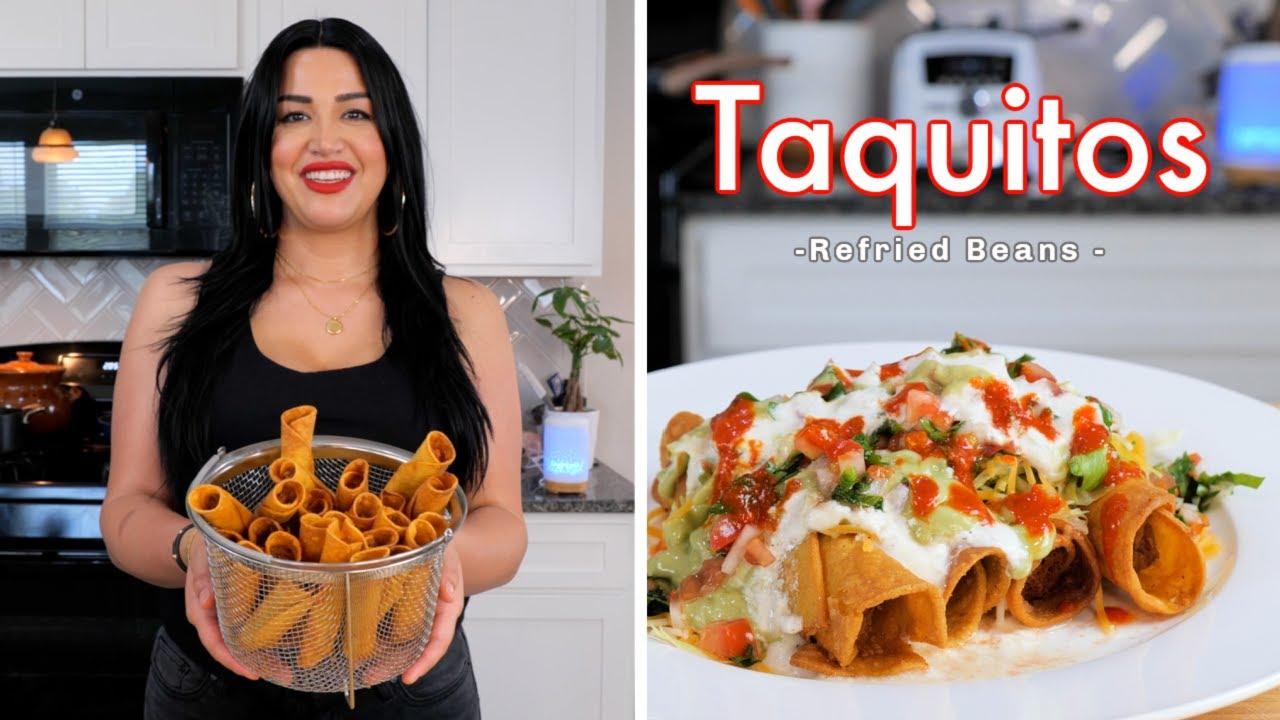 HOW TO MAKE QUICK AND EASY REFRIED BEANS TAQUITOS | Taquitos Dorados de Frijoles