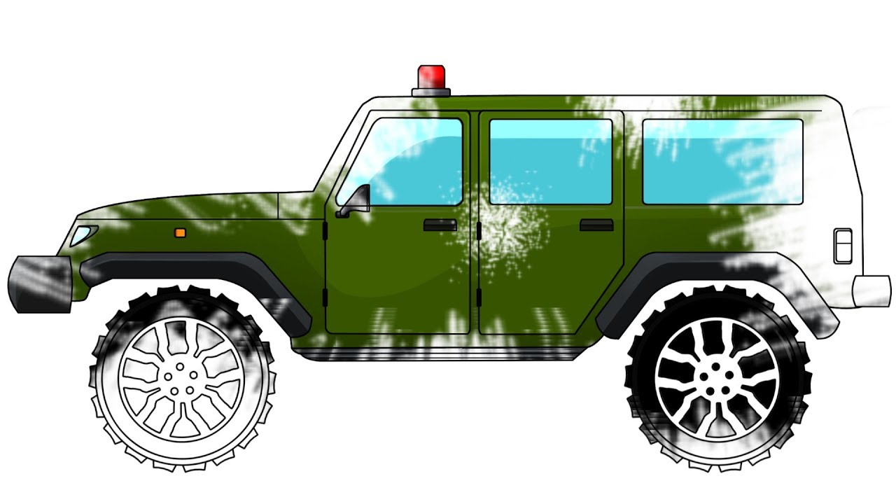 Army Jeep Coloring Book Learn Colors Army Vehicle Youtube