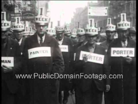 Great Depression Looking for Work and Barter Newsreel PublicDomainFootage.com