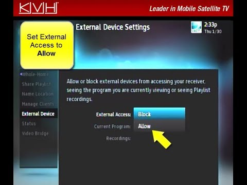 How to Allow External Device Access on a DIRECTV Receiver for a KVH TracVision TV-series System
