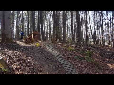 Mountain biking features at Trail C Freedom Park. Williamsburg, VA