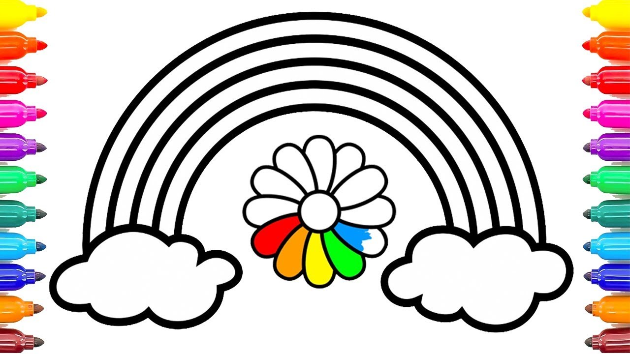 How to Draw Rainbow Flowers   Rainbow Flowers Coloring Pages Learn Colors Kids #ColoringPainting -23