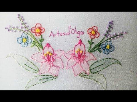 Shadow Flower Embroidery  Flores en Punto de Sombra  Hand Embroidery Tutorial by ArtesdOlga