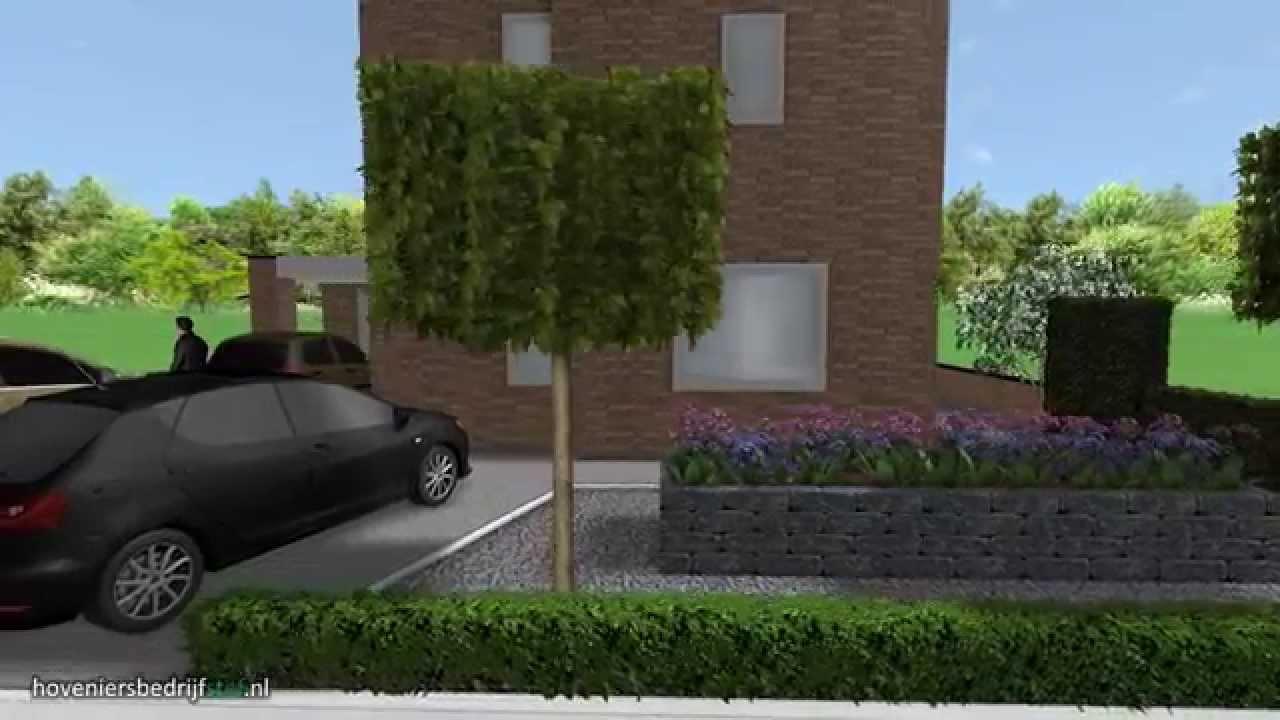 3d tuinontwerp strak en eenvoud oprit en voortuin for Voortuin strak modern
