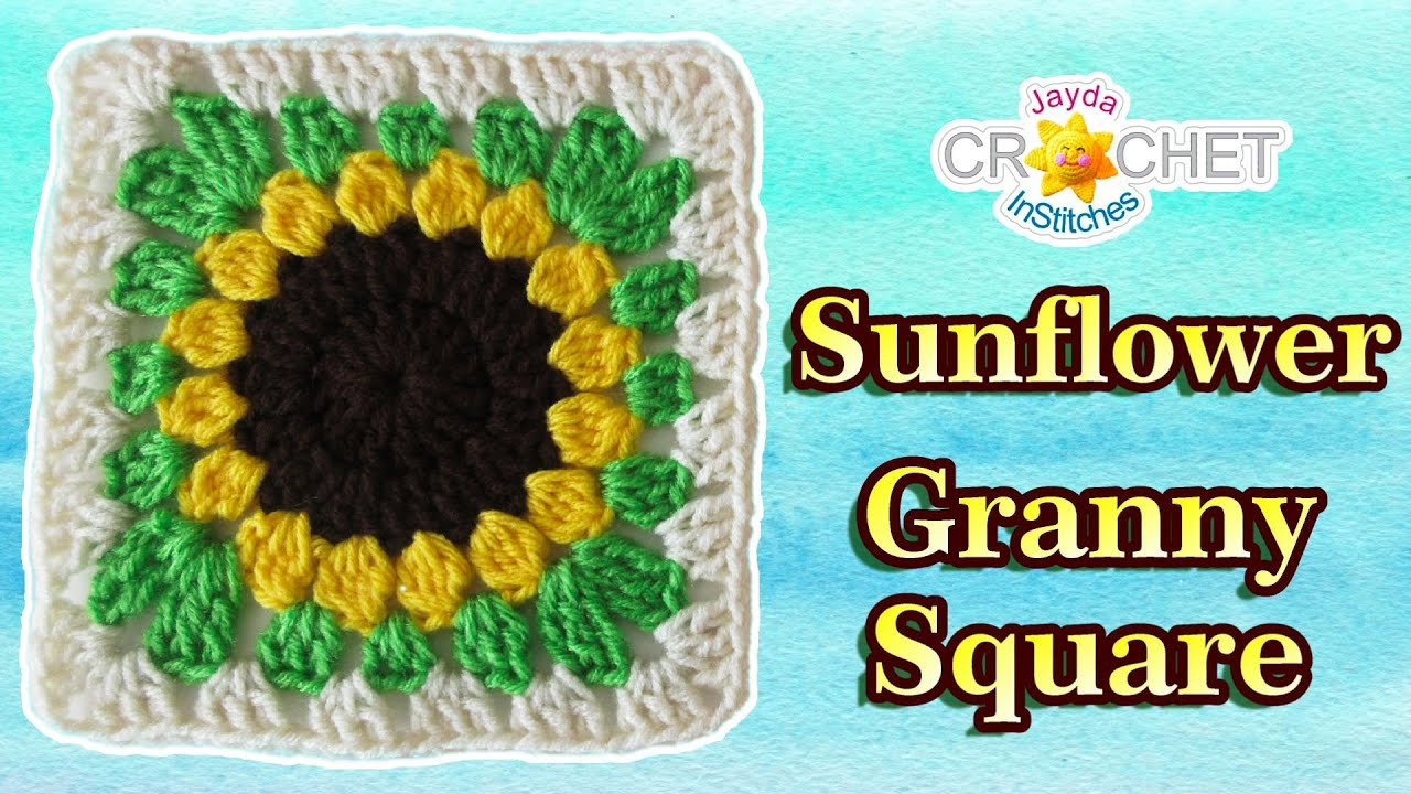Granny Square Sunflower Crochet Pattern - YouTube