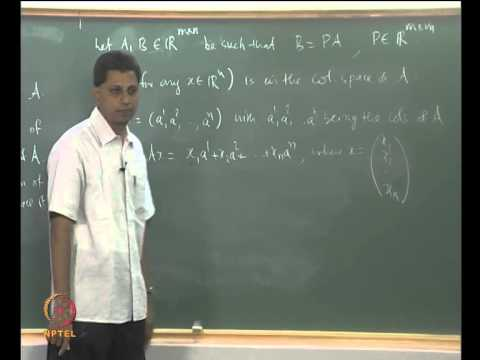 Mod-04 Lec-17 Isomorphic Vector Spaces, Equality of the Row-rank and the Column-rank I
