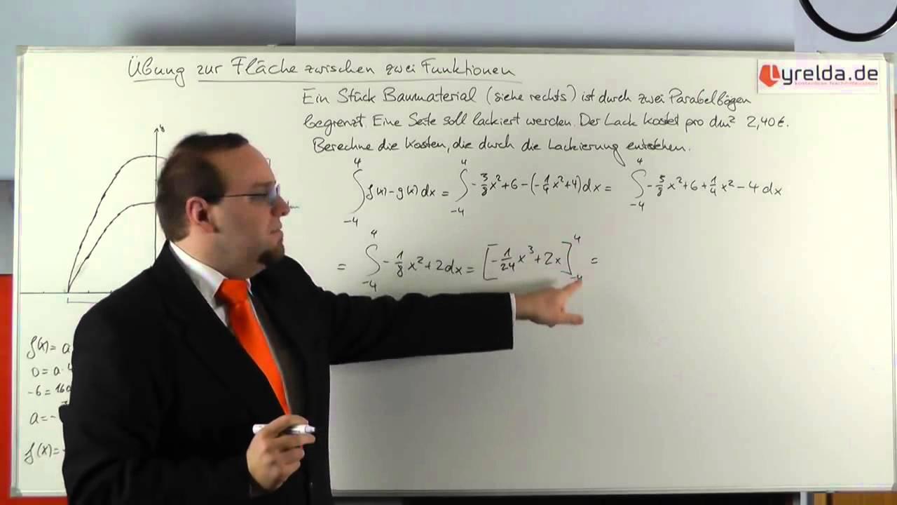 integral - fläche zwischen zwei funktionen (lösung) - lyrelda.de