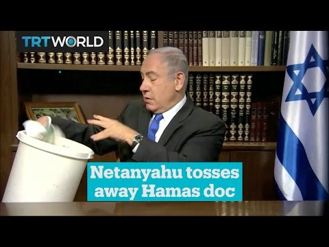 Netanyahu responds to Hamas' new policy, by tossing it into the trash can