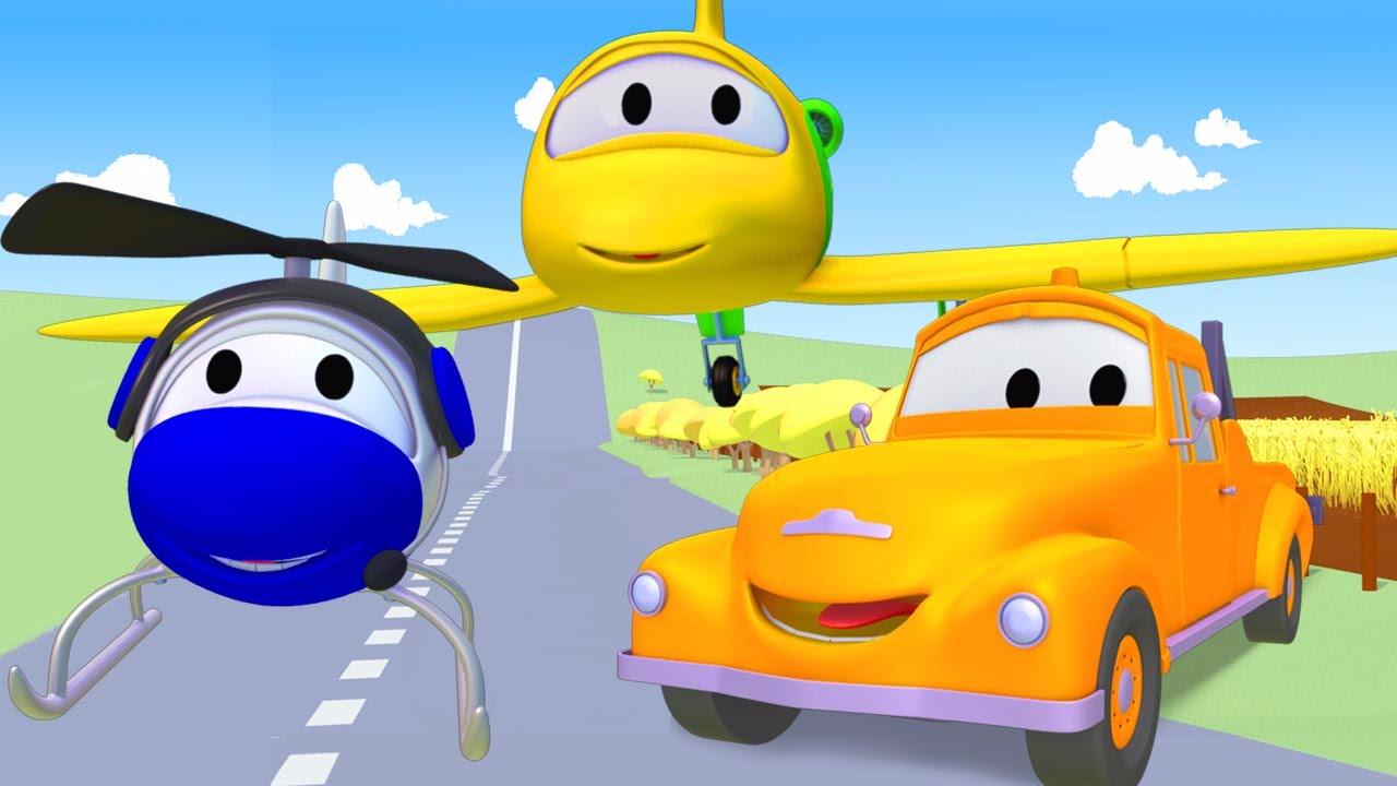tom o caminhão de reboque e o avião na cidade do carro desenhos