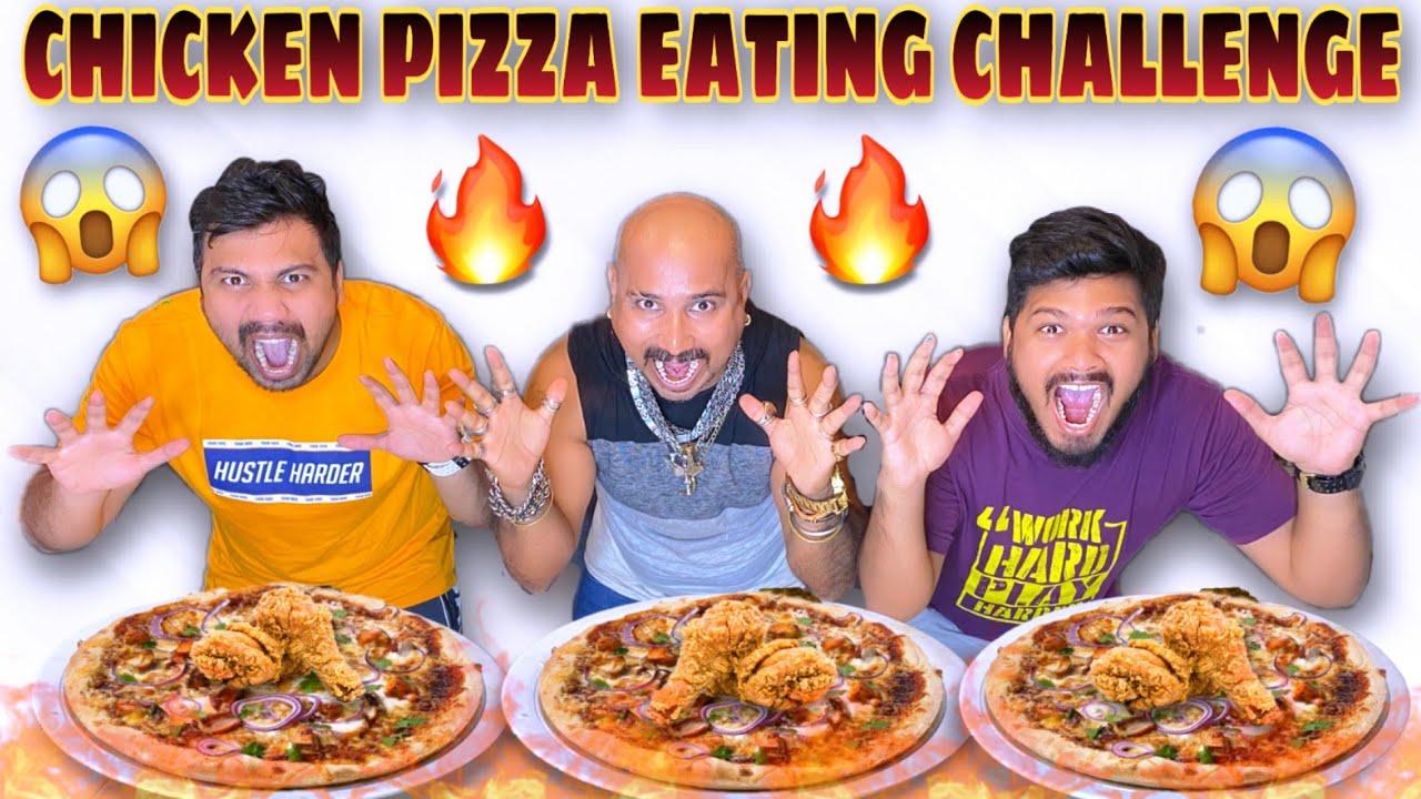 Chicken Pizza Eating Challenge Ft. Wake'N'Bite | Ulhas Kamthe | Chicken Leg Piece