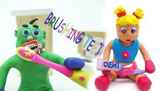 Green Baby -In- WHAT TO DO TO KEEP YOUR TEETH CLEAN - Stop Motion Cartoons