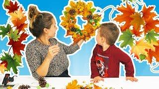 Toamna De Aur   Alex cu Mamica Face Compozitie de Toamna Pentru Gradinita