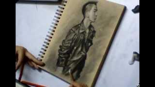 """TAEYANG ( Big Bang ) Portrait Speed Drawing / Time Lapse  Korean pop ( Kpop ) star """"Wedding Dress"""""""