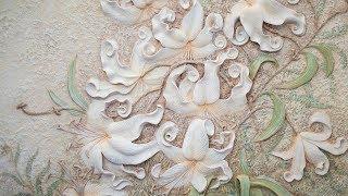 Барельеф цветов лилии из гипсовой шпаклевки своими руками